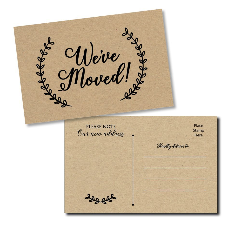 50 Moving Announcement Postcards - Fill in The Blank Change of Address - Rustic Kraft We've Moved Postcards, Change of New Address Moving Announcements, House Warming Gifts, Weve Moved Cards by All-Ewired-Up
