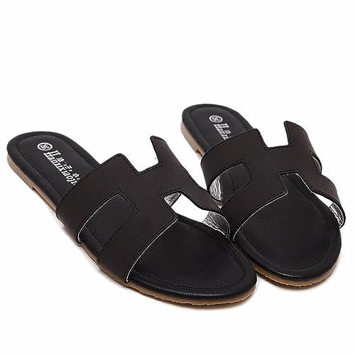 YUCH Señoras Zapatillas Casual Sandalias Diaria del Talón Plano PU: Amazon.es: Zapatos y complementos