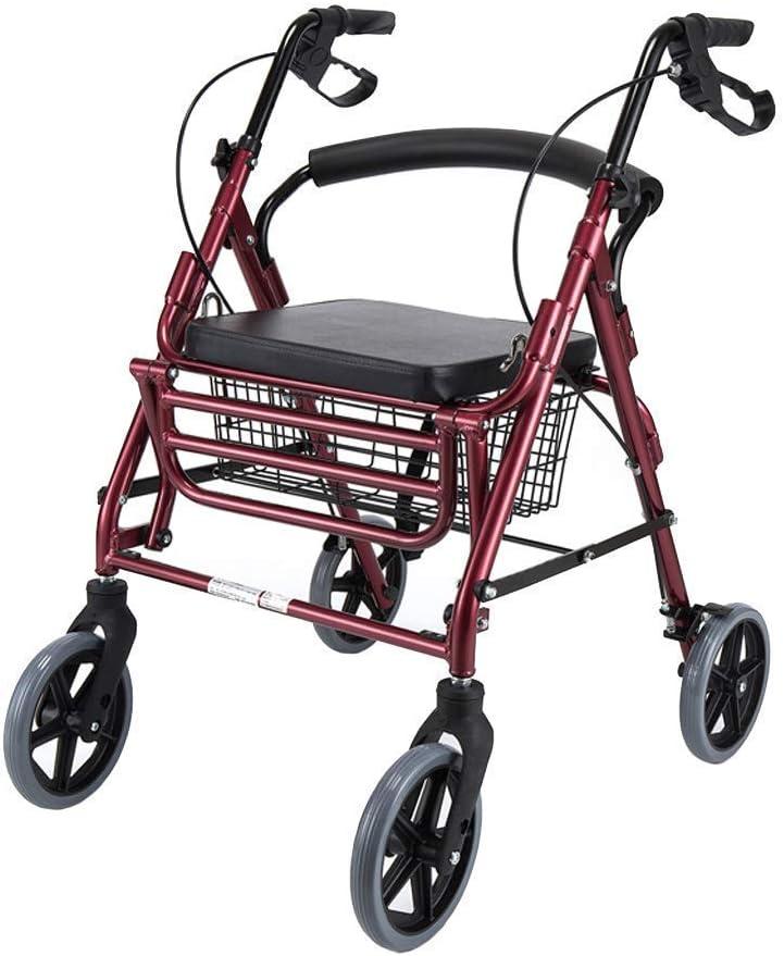 DGHJK Rodillo de Ayuda para Caminar con Freno de Asiento y 4 Ruedas Ayudas Ligeras Plegables para Adultos Vehículo de Motor Rodamiento Rojo