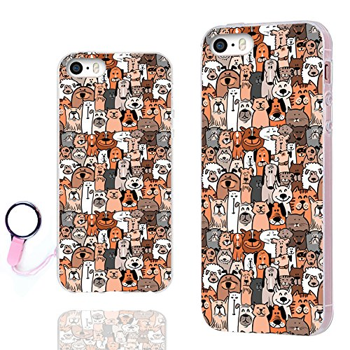 iPhone SE Case,iPhone 5s Case, iPhone 5 Case,ChiChiC [Orignal Series] Full Protective Case Slim Art Soft TPU Gel Rubber Cases Cover for iPhone 5 5S SE,cute animal doodle brown dogs and cats smile pet