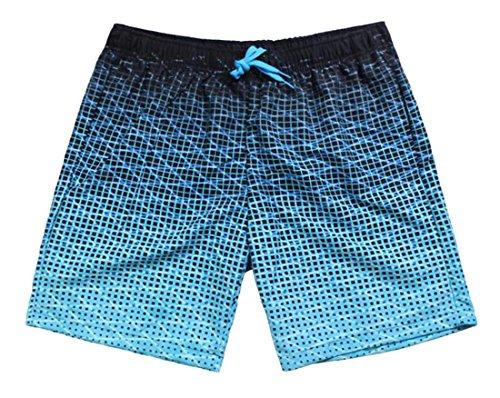Papijam Mens Fashion Plaid Ombre Color Elastic Waist Beach Shorts Blue (Ombre Plaid Short)