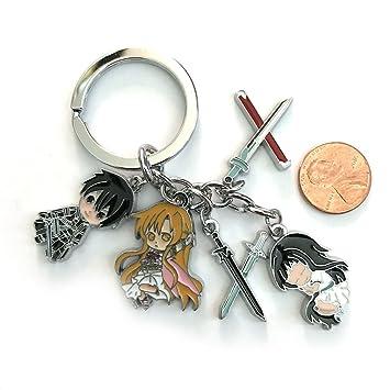 Anime Espada Arte Online KIRITO Asuna Character llavero ...