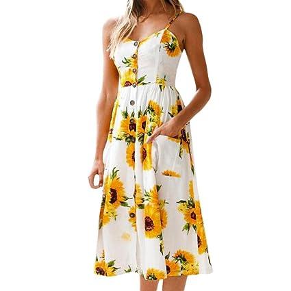 Caliente. Yahoo mujeres sin mangas vestidos de verano décontractées Floral impresora vestido damas larga Maxi