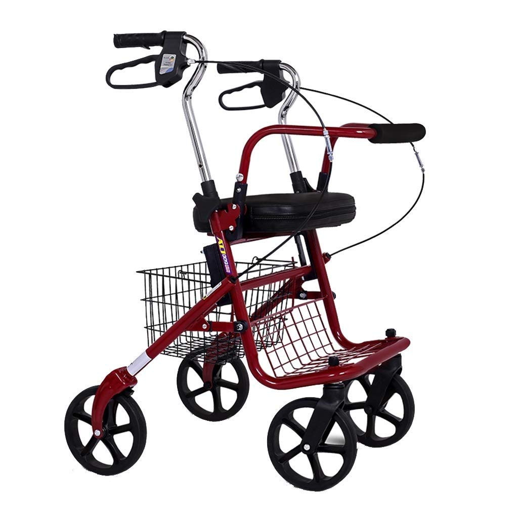 Rolling Walkers Shopping Cart Old Man Trolley Take A Folding Wheelchair Portable Four-Wheeled Grocery Shopping Cart Home Crutches Helper PNYGJZXQ by PNYGJZXQ