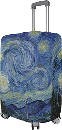 OREZI Luggage Protector Van Gogh Painting Travel Luggage Elastic Cover Suitcase Washable and Durable Anti-Scratch Stretchy Case Cover Fits 18-32 Inches