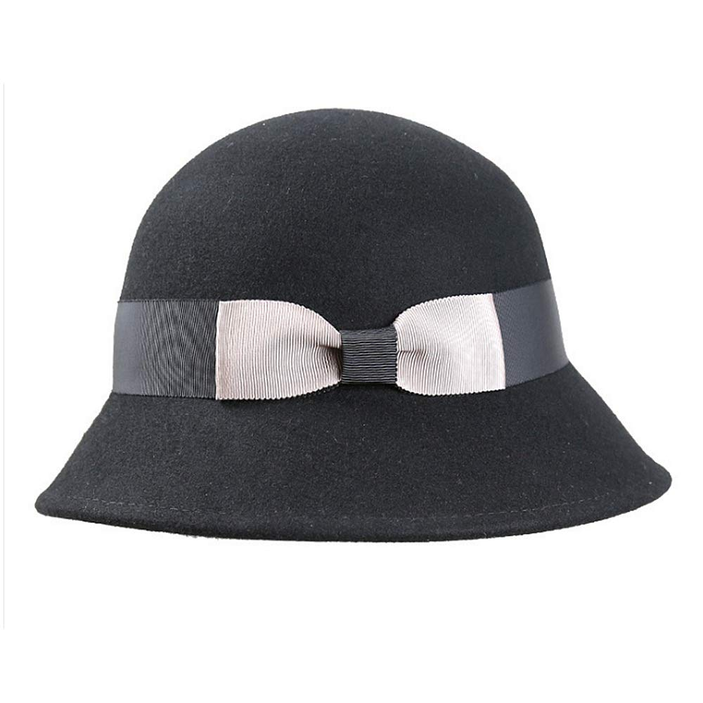 f7aeba8e9a5e67 Brim Lady's Floppy Wool Felt Cloche Fedora Hat for Ladies Cute Bowknot Church  Bowler Hats Derby Party Fashion Winter Women Casual Soft Classic (color  Black) ...