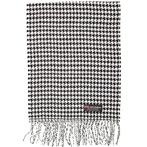 2 PLY 100% Cashmere Scarf Elegant Collection Made in Scotland Wool Solid Plaid (Black White Small Houndstooth)