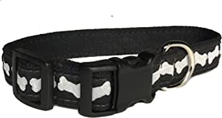 """product image for Bones Pattern Hemp Canvas Dog Collar (3/4"""" Small, Black and White)"""
