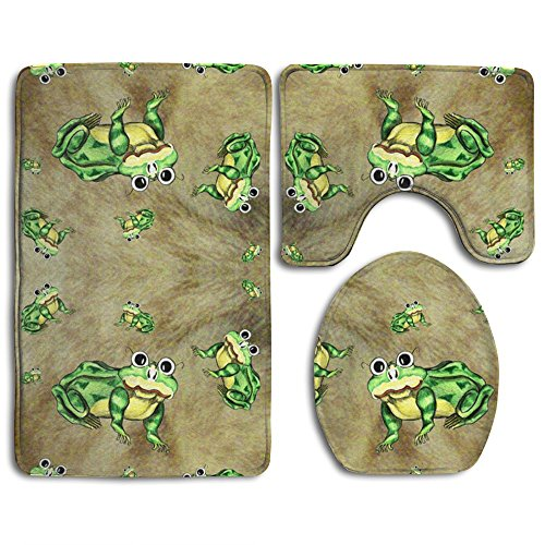 (Bath Mat,Frogs Green Bathroom Carpet Rug,Non-Slip 3 Piece Bathroom Mat Set)