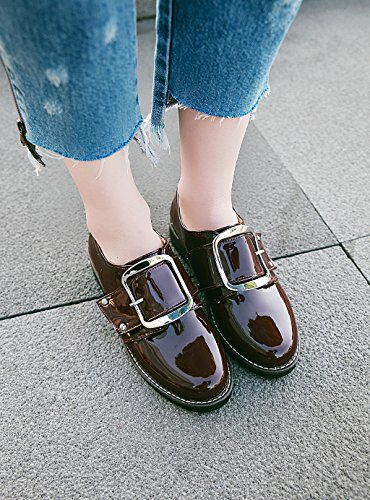 Carolbar Womens Buckle Patent Leather Low Heel Fashion Casual Shoes Wine Red bF7uUJ