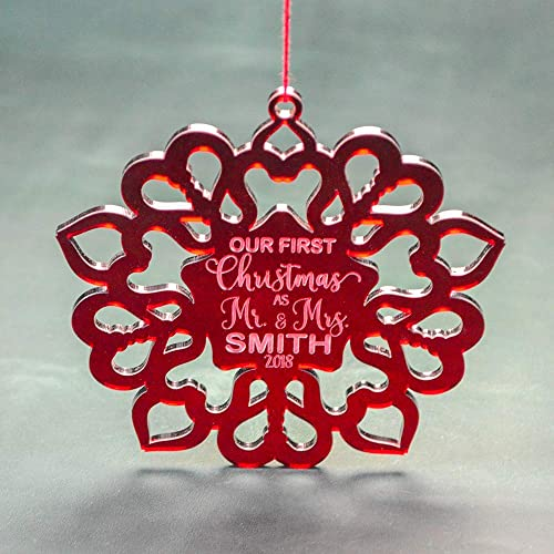 personalized christmas ornament acrylic snowflake for couple red acrylic snowflake decoration christmas home - Amazon Christmas Home Decor
