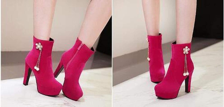 Herbst Und Winter Stiefel Stiefel Stiefel Mit Seitlichem Reißverschluss Und Hohen Absätzen Aus Leder (Farbe   1, Größe   36EU)  b684a2