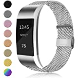 AK MetalLoop Band Compatible with Fitbit Charge 2 Bands, Replacement Stainless Steel Mesh Wristband with Magnet Lock (Withou
