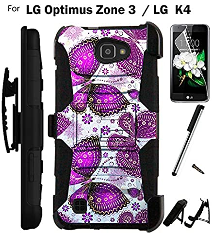 For LG Optimus Zone 3 Phone Case (Verizon) Armor Hybrid Rugged Silicone Cover Kick Stand LuxGuard Holster+LCD Screen Protector+Stylus (Purple (Lg Optimus Cell Phone Holster)