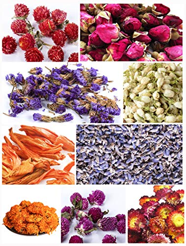 Edible Dried Flowers - Bath Bomb Making Kit Tea Bulk of Lavender Buds, Rosebud, Jasmine, Chamomile, Also for Cake Decorations, Candle Making, Soap Making kit