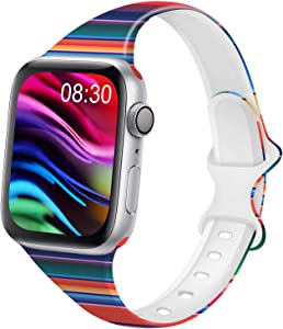 DYKEISS Pattern Printed Slim Silicone Band Compatible for Apple Watch Band 38mm 42mm 40mm 44mm, Fadeless Floral Thin Narrow Replacement Strap for iWatch Series 5/4/3/2/1 (Rainbow, 38mm/40mm)
