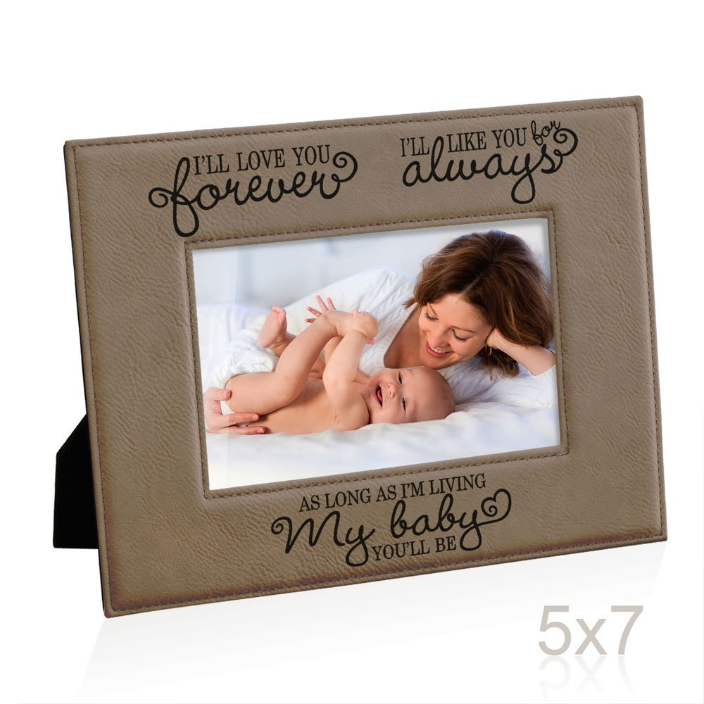 Kate Posh - I'll love you forever, I'll like you for always, as long as I'm living, my Baby you'll be, New Baby Gifts, Wedding Gifts, Valentines Gifts - Engraved Leather Picture Frame (5x7-Horizontal)