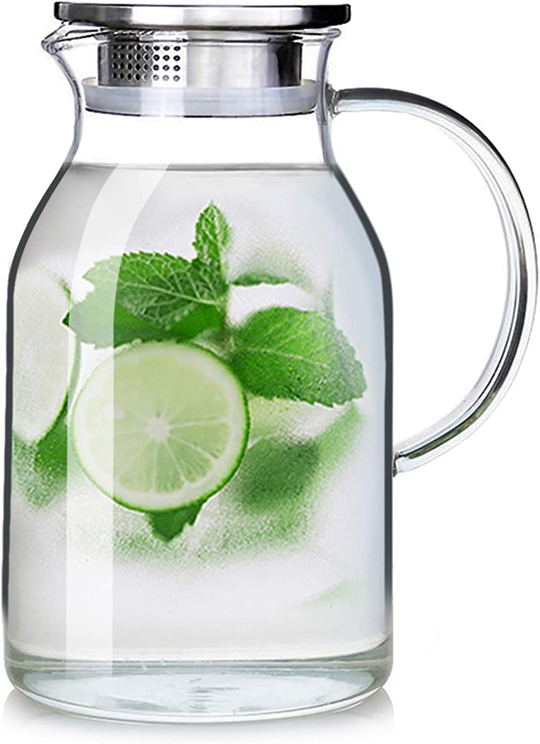 88OZ Glass Pitcher with Lid and Spout - High Heat Resistance Pitcher for Hot/Cold Water & Iced Tea (L 2.6L)