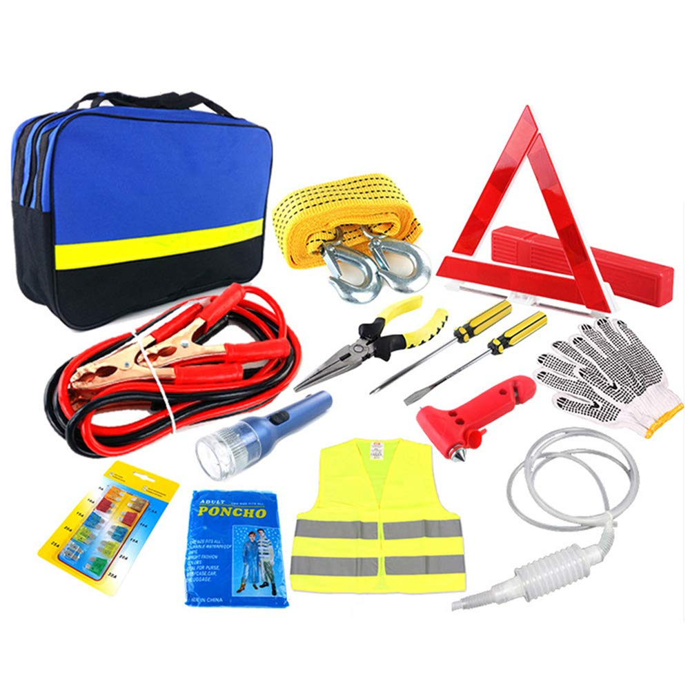 Reflective Warning Triangle Storage Bag and More Multifunctional Roadside Assistance Tools Rain Coat Oneuda Car Emergency Kit with Jumper Cables Tow Rope Safety Vest Glove LED Flash Light