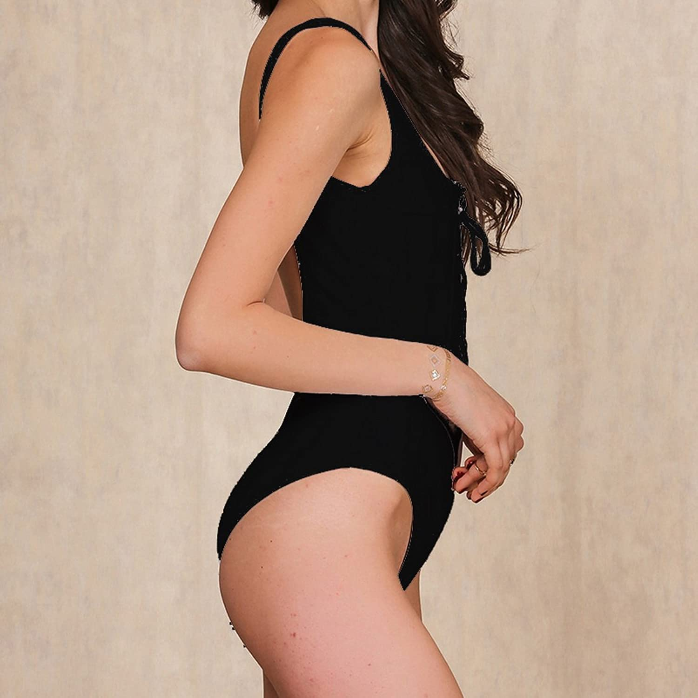 Shujin Femme Une Pièce Bikini Plage Slim Maillot de Bain Uni Swimwear Monokini Beachwear Vente Visite 2EXjU