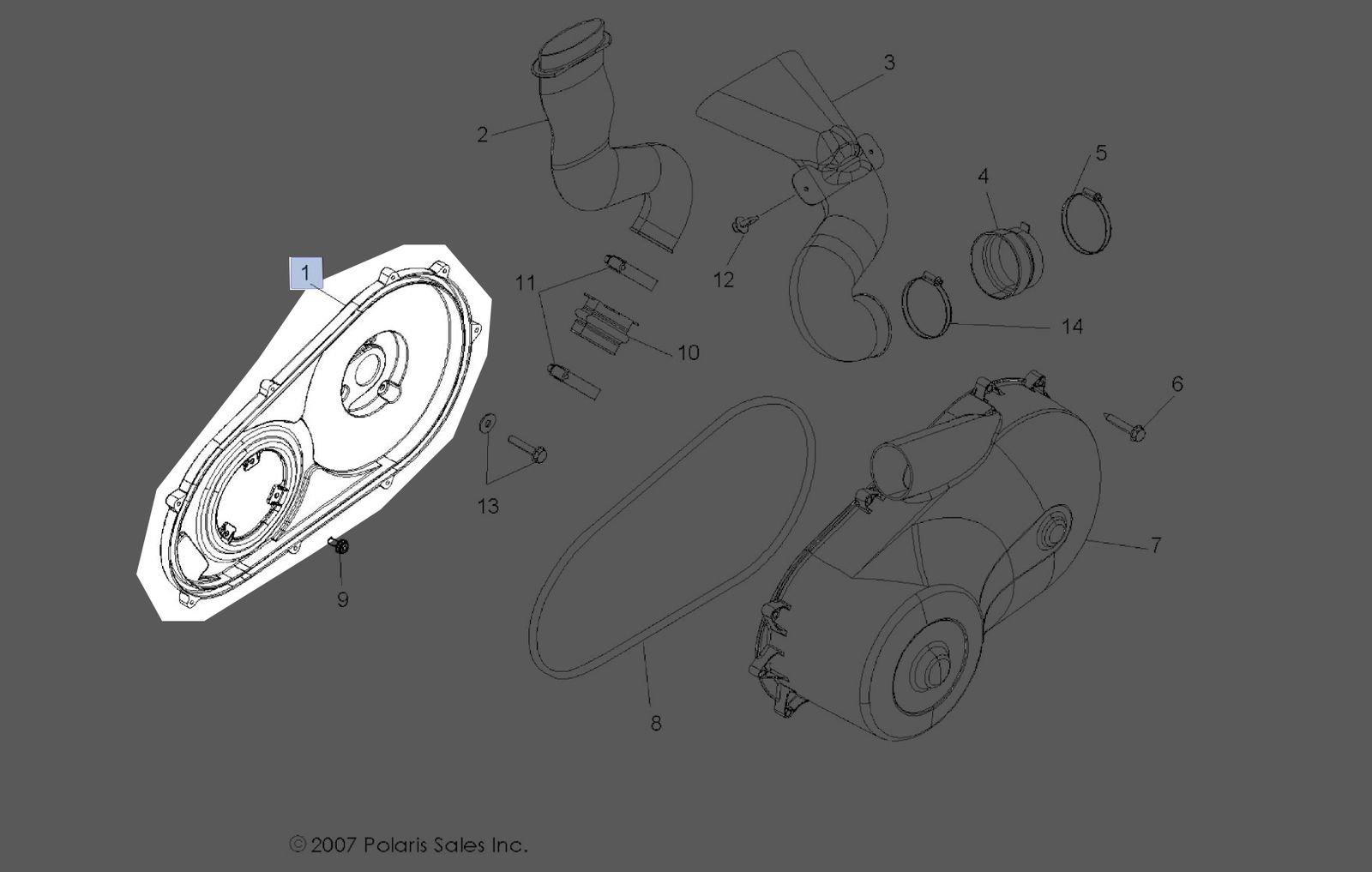 Polaris 2008-2010 Rzr 800 Rzr''S'' 800 Intl Cover Clutch Inner 5436569 New Oem