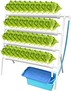 WEPLANT Hydroponic Growing Systems with Water Pump, PVC Vertical Hydroponic Pipe Grow Fresh Vegetable with Nest Basket and Sponge