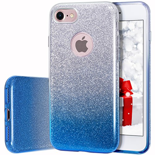 MILPROX iPhone 7 iPhone 8 Shiny Glitter Sparkly Case Slim Premium 3 Layer Hybrid Protective Soft Case for iPhone 7/8 Case - Blue Gradient