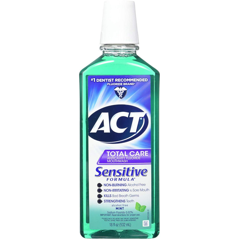 Act Total Care Mild Mint Anticavity Fluoride Sensitive Mouthwash, 18 Ounces (Value Pack of 4)