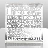 Kate Posh First Anniversary 雕刻纪念品和纸张重量 透明玻璃 Husband & Wife (2018-2019) NA