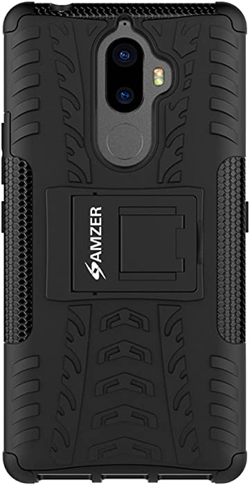 AMZER Slim Protective Shockproof Hybrid Warrior Case Heavy Duty Dual Layer Cover Skin for Lenovo K8 Note - Black Rugged