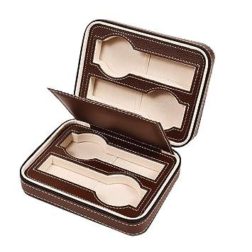 Caja organizadora de reloj con cremallera para guardar joyas y muñecas, soporte de piel portátil (4 ranuras), color marrón: Amazon.es: Hogar