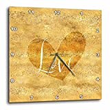 3dRose PS Inspiration - Image of Gold Glam Glitz Heart Love - 15x15 Wall Clock (dpp_280716_3)