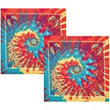 Tie Dye Paisley Bandanna - 2 Pack - Tie-Dye Paisley Bandana In Rainbow Colors by CoverYourHair