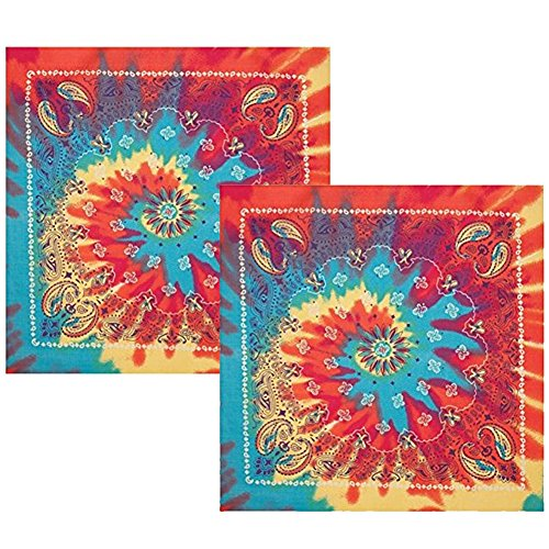 Tie Dye Paisley Bandanna - 2 Pack - Tie-Dye Paisley Bandana In Rainbow Colors by CoverYourHair -