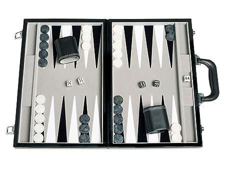 Travel Backgammon Set - Leatherette, Velvet Playing Field - 15-inch, Black/Grey