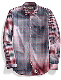 Men's Slim-Fit Long-Sleeve Two-Color Gingham Shirt