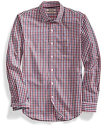 Goodthreads Men's Slim-Fit Long-Sleeve Gingham Plaid Poplin Shirt, Red/Blue, Medium