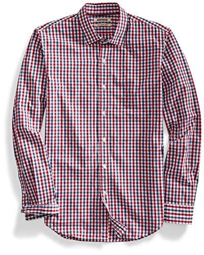 Striped Linen Button Front Shirt - Goodthreads Men's Slim-Fit Long-Sleeve Gingham Plaid Poplin Shirt, Red/Blue, Large