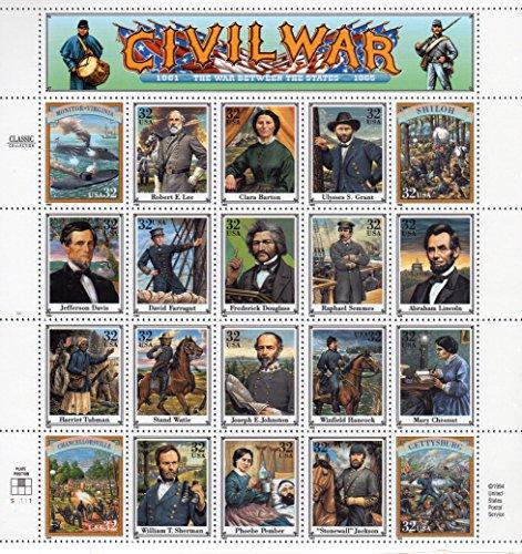 1995 Civil War Sheet of Twenty Different 32 Cent Stamps Scott (Civil War Sheet)
