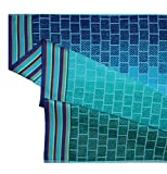 Cotton Craft - Oversized Jacquard Double Woven Velour Beach Towel 39x68 - Tile Blue Teal - Thick Plush Luxurious Velour Pile - 450 GSM - 100% Pure Ringspun Cotton - Brilliant Intense Vibrant Colors