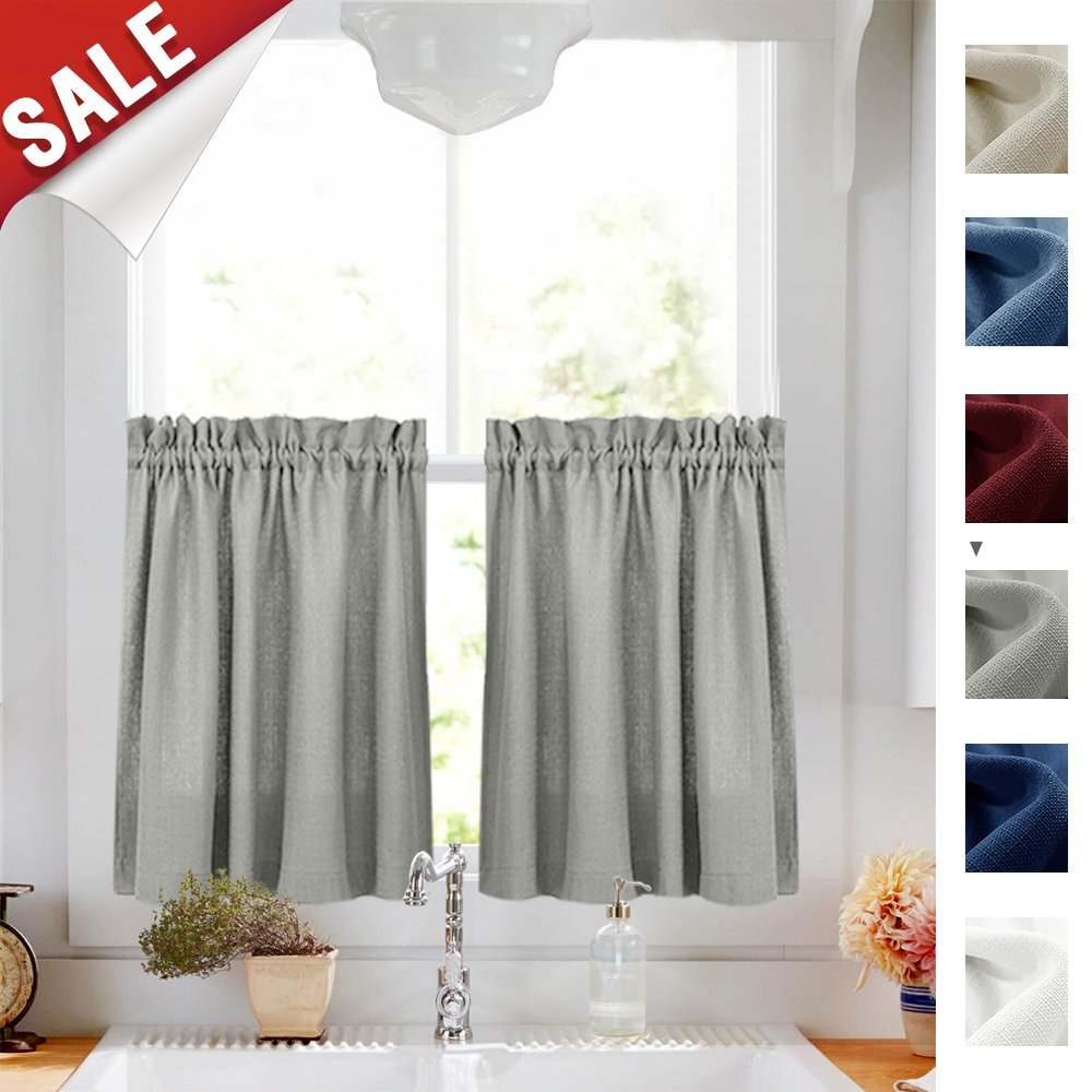 24-inch Kitchen Curtains for Bathroom Small Privacy Half Window Tiers Semi Sheer Textured Cafe Curtains for Basement (72-inch Wide, Burgundy Red, Set of 2) CKNY HOME FASHION JCUSRP2-YGTR-3624C05