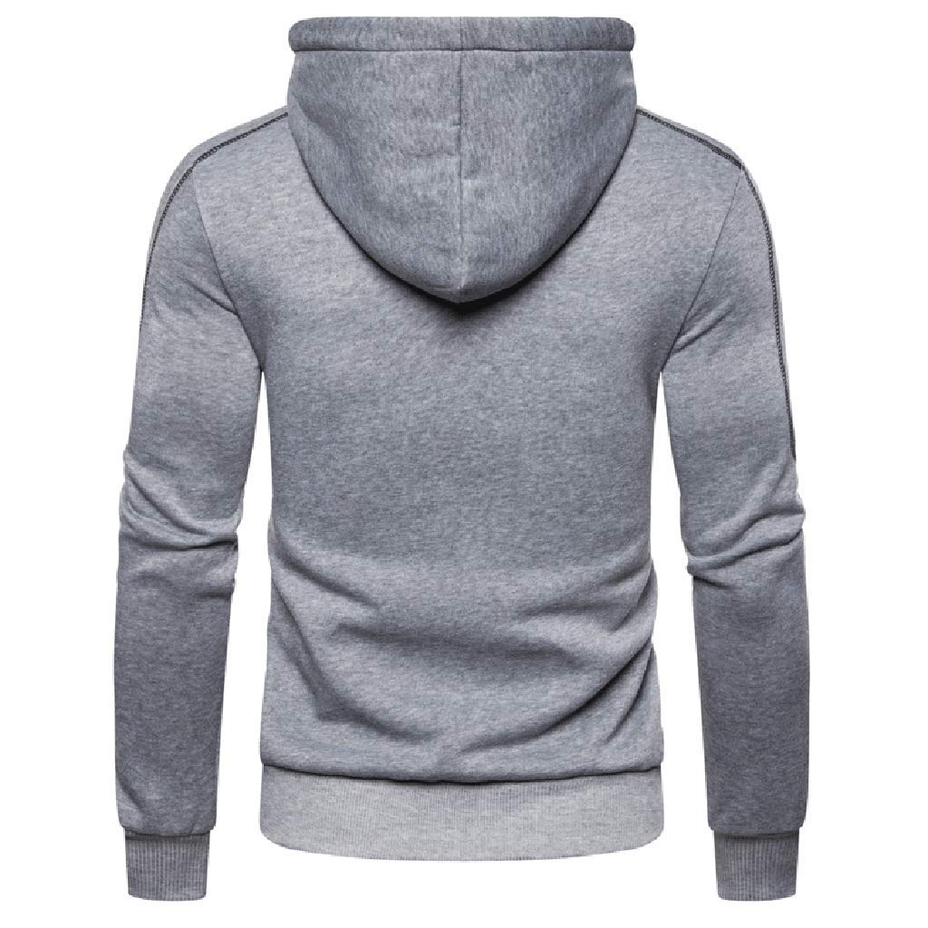 Men Autum Winter Long Sleeve Hooded Sweatshirt Zipper Outwear Tops Blouse khdug✿ Outwear for Men