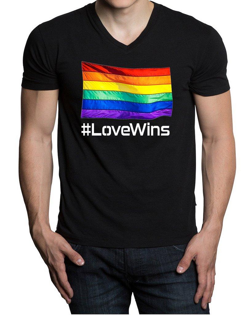 Love Wins Rainbow Flag Men's Black V-Neck T-Shirt V196 X-Large Black