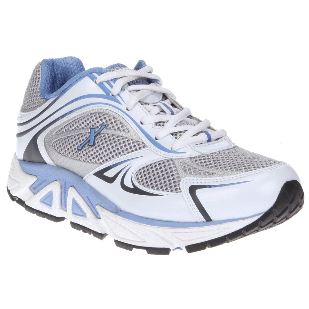 Xelero Genesis Women's Comfort Therapeutic Extra Depth Sneaker Shoe: White/Blue 6.0 X-Wide (2E) Lace