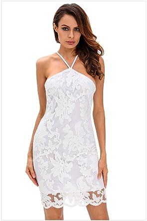 18 Summer Women Lace Mini Dress Lady Club Spaghetti Strap Sleeveless Halterneck Backless Cutout Pencil