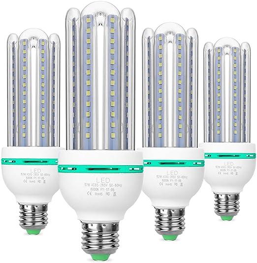 Bombillas LED E27, 12W equivalente de 100 vatios,luz blanca fría 6000K, 360 ° ángulo de luz,no regulable,980 lúmenes LED maíz luz bombilla,ahorro de energía bombillas de luz - 4 Pack: Amazon.es: Iluminación