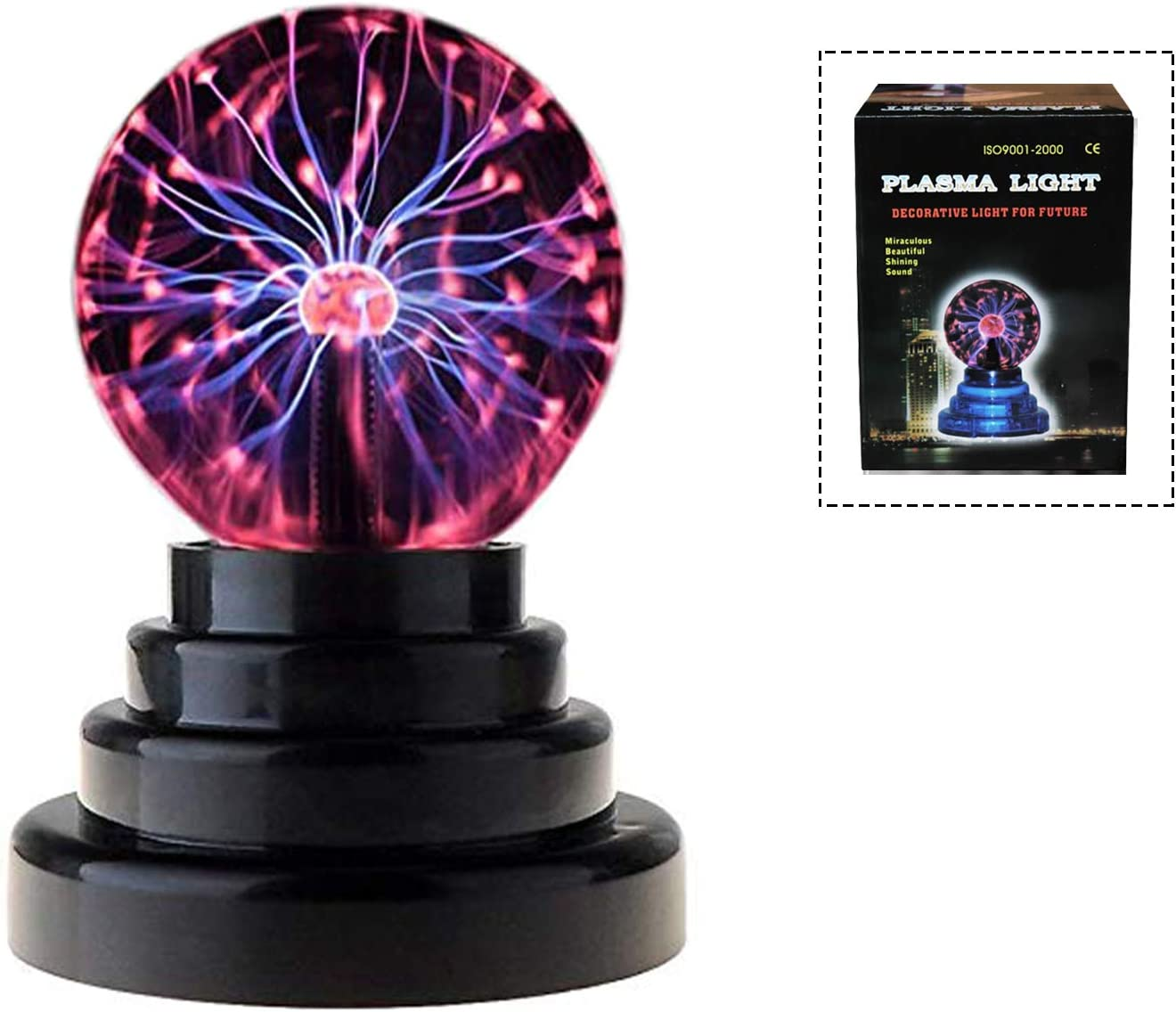 Plasma Globe Cool Stuff for Teens Plasma Lamp Plasma Ball Touch Sensitive Electricity Ball Tesla Ball Static Ball USB Port or Battery Powered for Parties,Decorations,Prop,Home