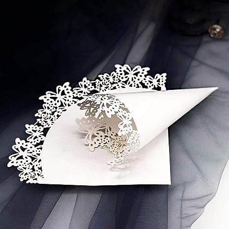 Taglio Laser Squisito Coni Cono Portariso Comunione Sumshy 50 PZ Coni Riso di Farfalle Fai da Te Coni per Confettata Portaconfetti Battesimo Segnaposto Bomboniere per Matrimonio Petalo