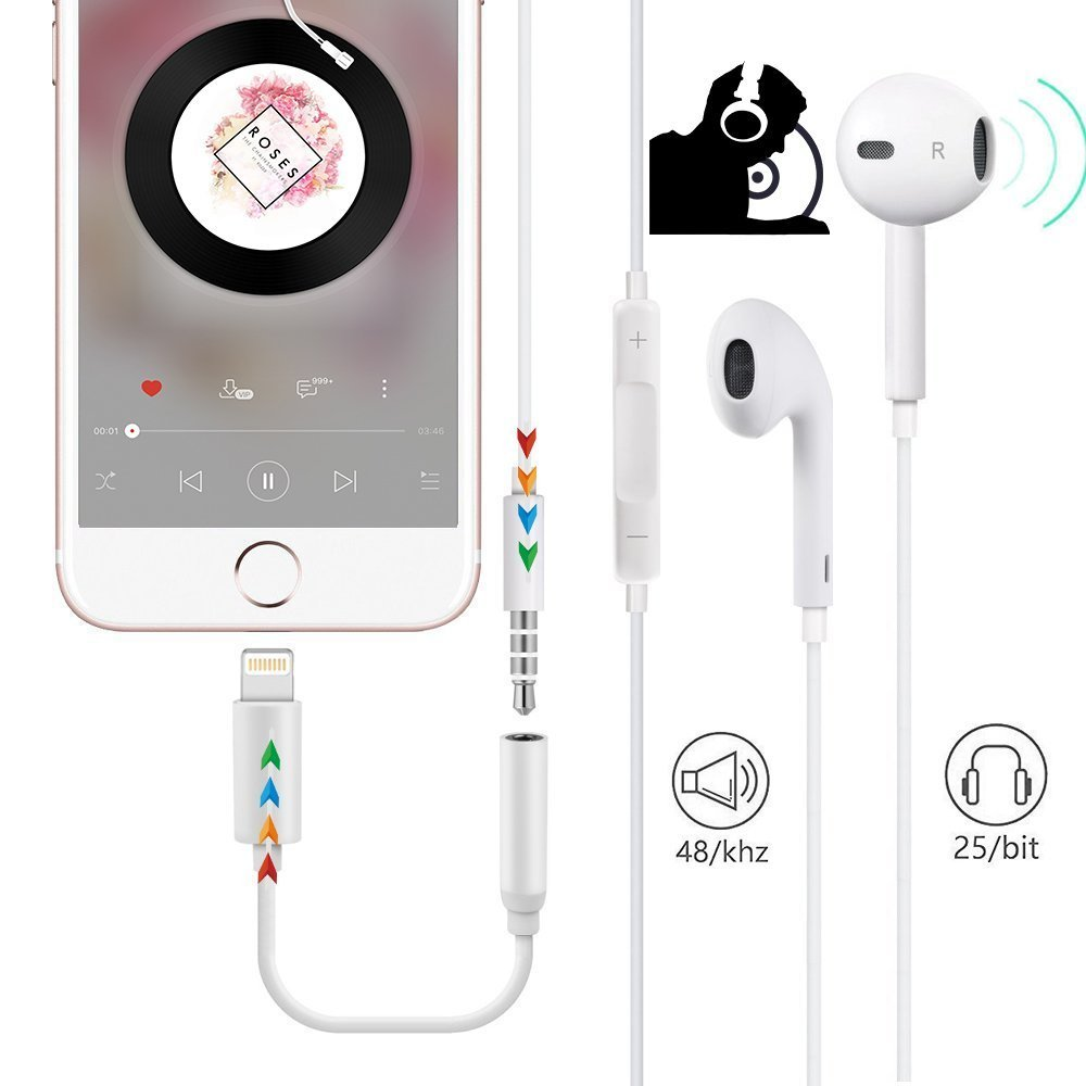 Lighting Jack Adapter to 3.5mm Headphone for Phone 7//7Plus//8//8Plus//X//10 AUX Audio Connector Jack Dongle Earphone Adaptor Cable AUX Female Audio Jack Music More Support All iOS