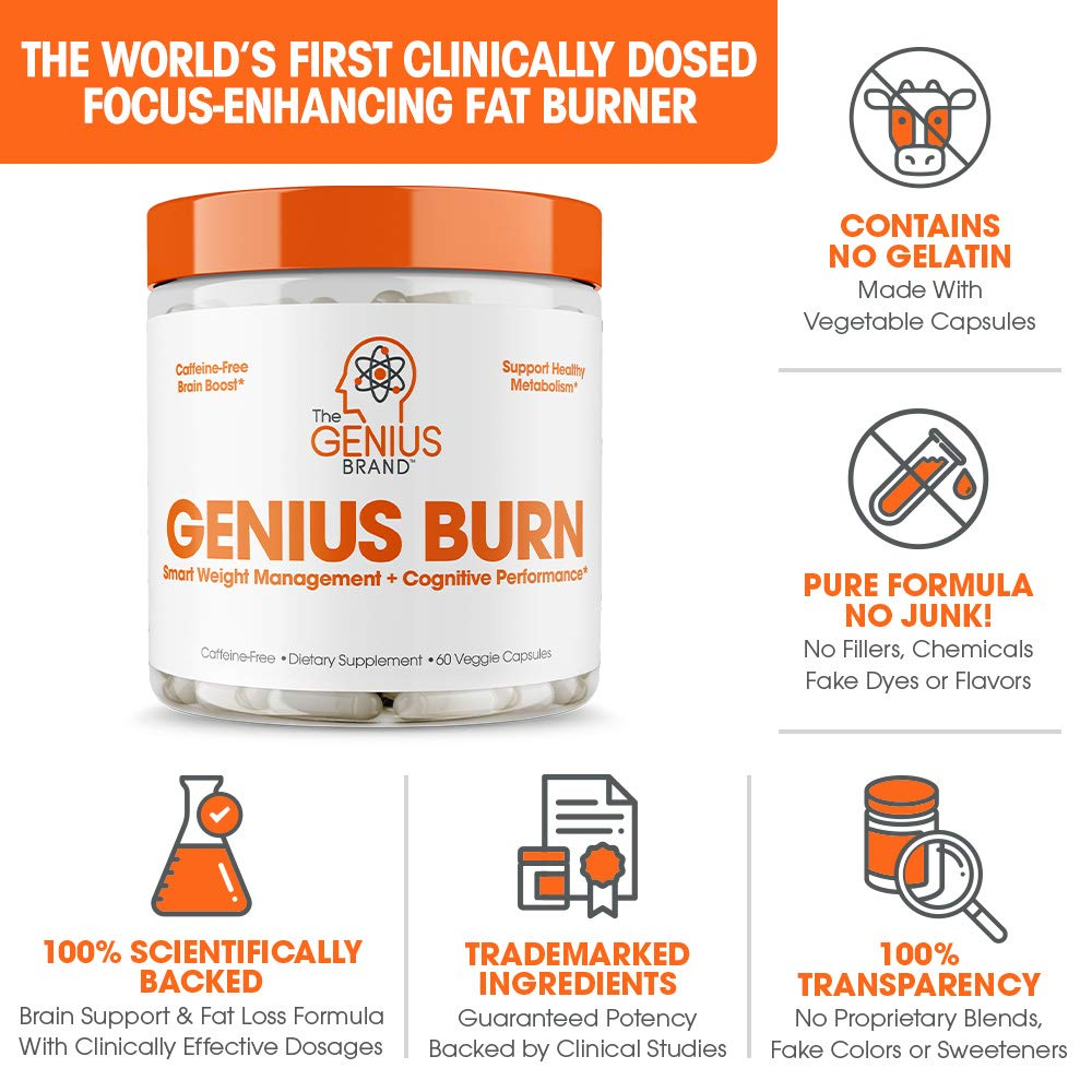 Genius Fat Burner - Thermogenic Weight Loss & Nootropic Focus Supplement - Natural Metabolism & Energy Booster for Men & Women   Thyroid Support and Appetite Suppressant w/ Gymnema Sylvestre, 60 Pills